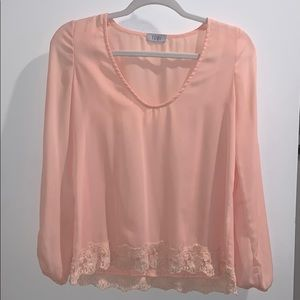 Long Sleeve Blouse with Lace Detail.